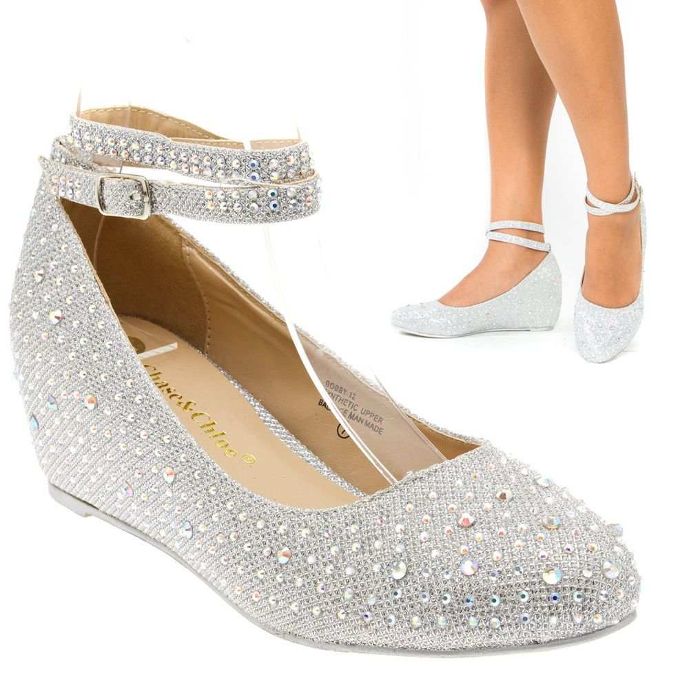 Sexy Silver Ankle Strap Crystal Wedge Med Low Heel Pump Wedding ...