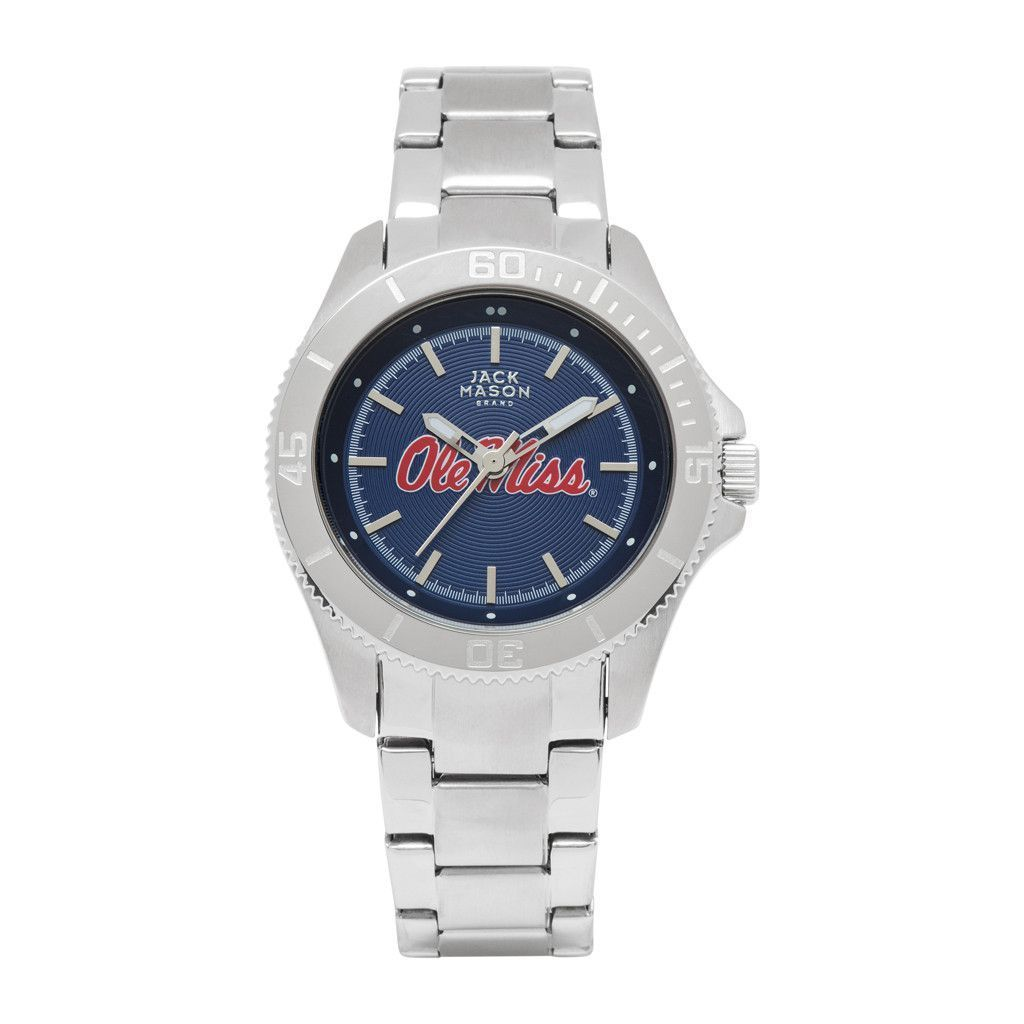 Ole Miss Rebels Ladies Stainless Watch w/ Blue Dial