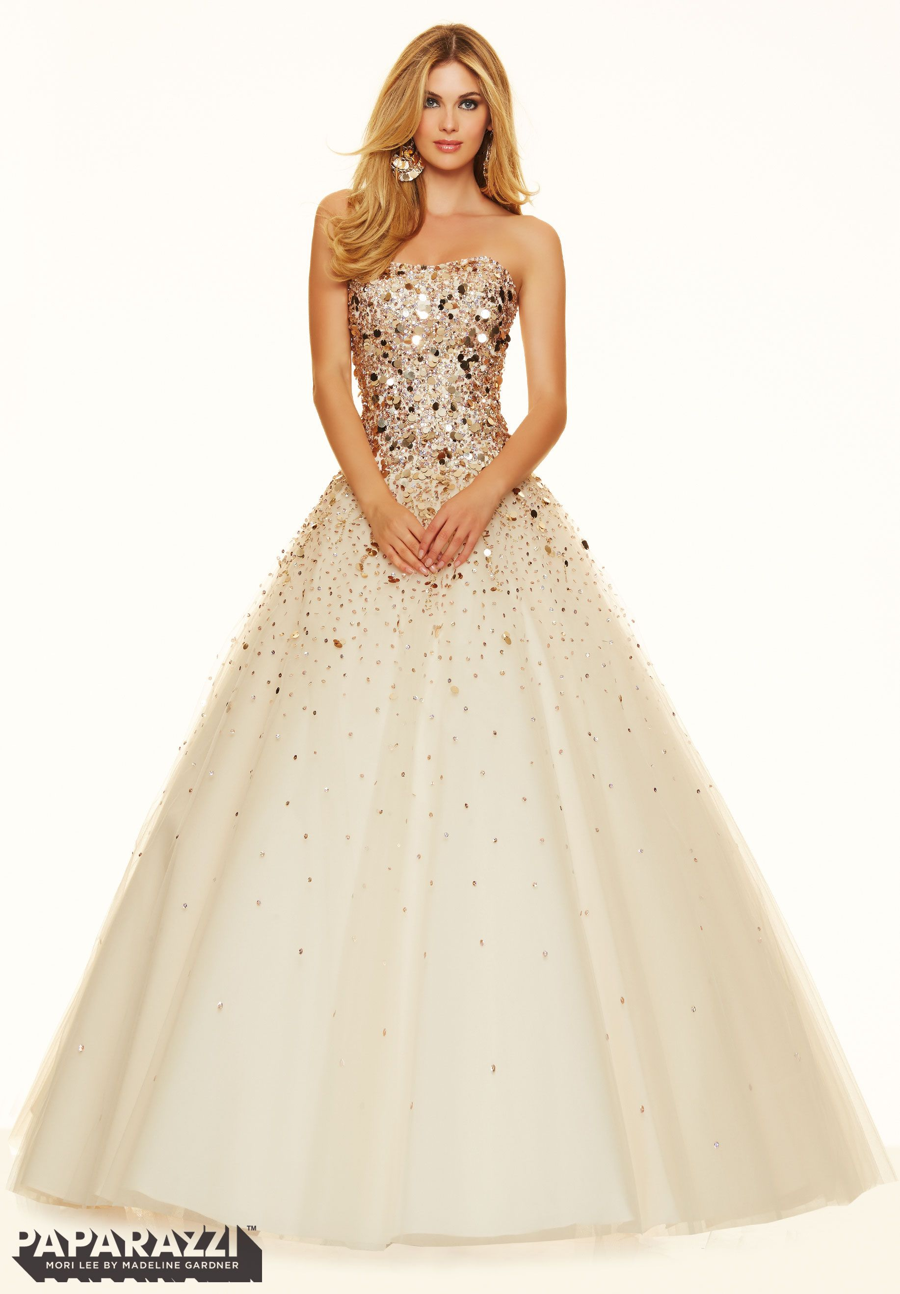 Ball gown prom dresses 2014 - Prom Dresses By Paparazzi Prom Beaded Tulle Ball Gown Corset Back Closure Colors Available