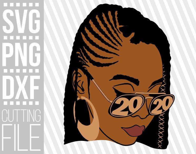 Afro Woman with glasses svg, Layered svg, 2020 svg, Braid