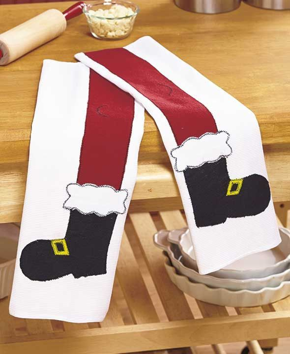 Santa's Legs Kitchen Towel Set