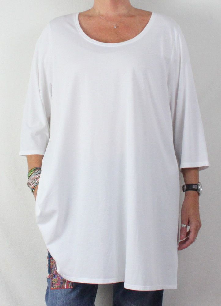 Pure J Jill 3x size New White Tunic Top Ballet Sleeve Stretch Blouse 69.00