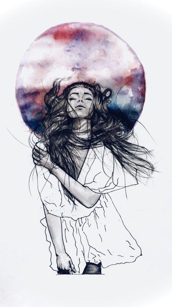 Drawing Art Girl Aquarell Watercolour Freedom Draw