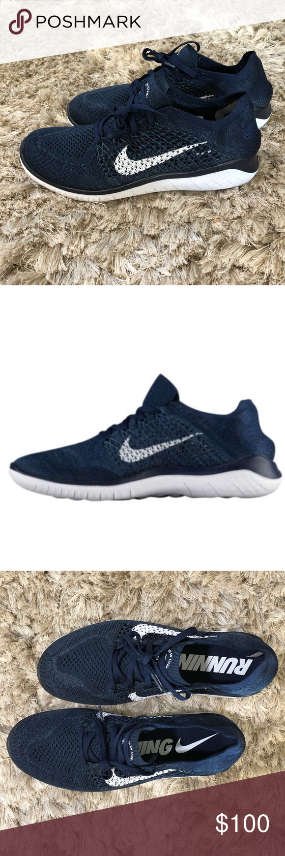 """3a4383ce0af NIKE FREE RN FLYKNIT 2018 - MEN S BRAND NEW! Style is Nike Free RN Flyknit  in """"College Navy White Squadron Blue"""". Never worn! Currently retails for   120 ..."""