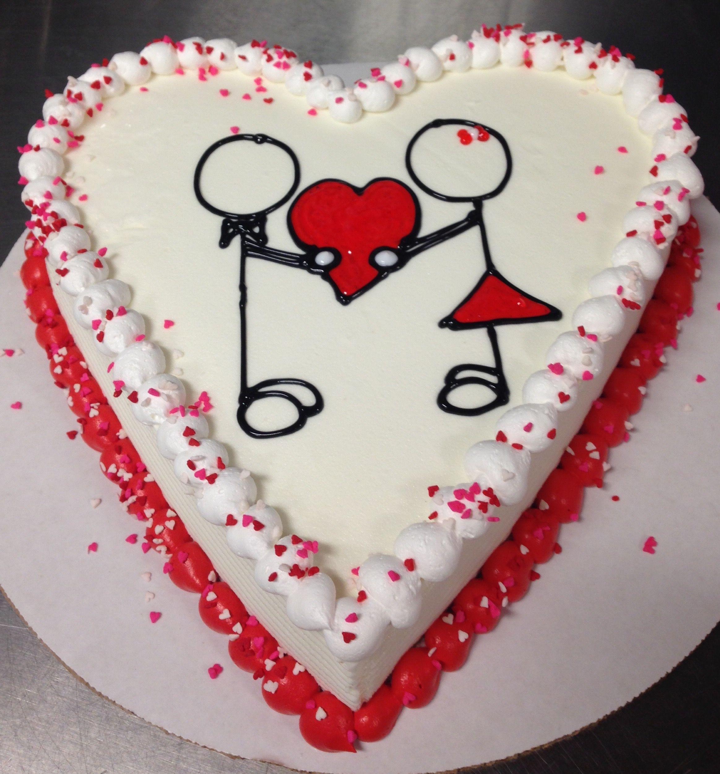 Valentine S Day Dq Heart Ice Cream Cake With Stick Figures Valentine Cake Heart Shape Cake Design Ice Cream Design