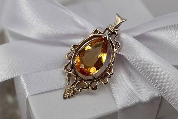 Beautiful Citrine stone handmade silver plated pendant