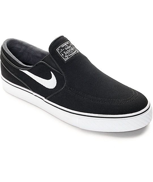 brand new f9141 ff5f6 Nike SB Zoom Stefan Janoski Black   White Slip-On Skate Shoes