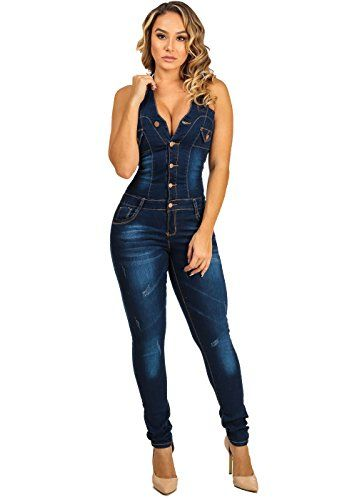 30a4c539729b Womens Juniors Sexy Tie Halter ButtLifting Denim Jumpsuit Indigo Wash  10210M     Check out this great product.