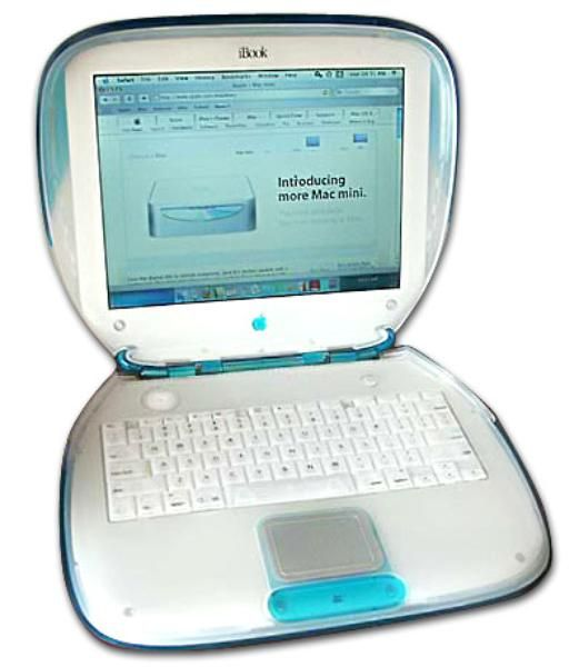 """iBook: 1999 Known as the """"clamshell, the laptop was marketed to consumer and educators."""