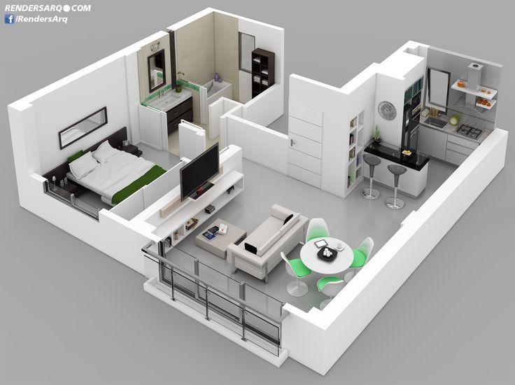Planos de casas 3d con medidas buscar con google casas - Planos en 3d de casas ...