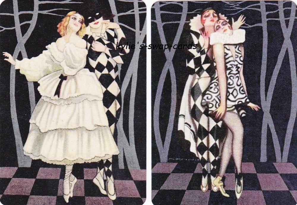 SD69 PAIR swap playing cards MINT COND art deco style dancers harlequin ballet