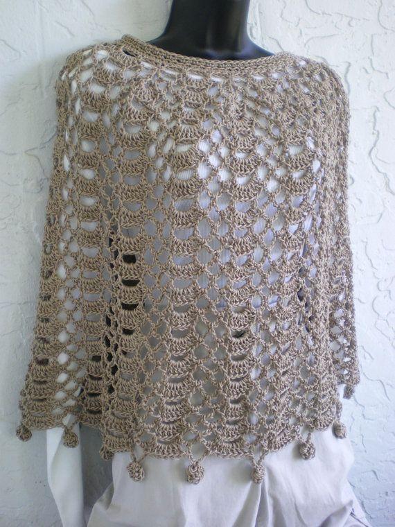 Hand Crochet Capelet Poncho Shawl cotton Beige | Refrigerador ...