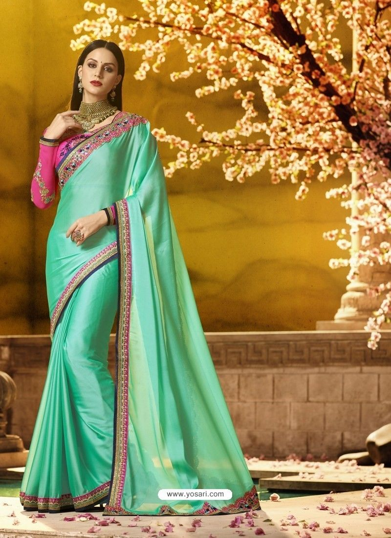 cbd62b6fbef980 Jade Green Embroidered Designer Silk Saree