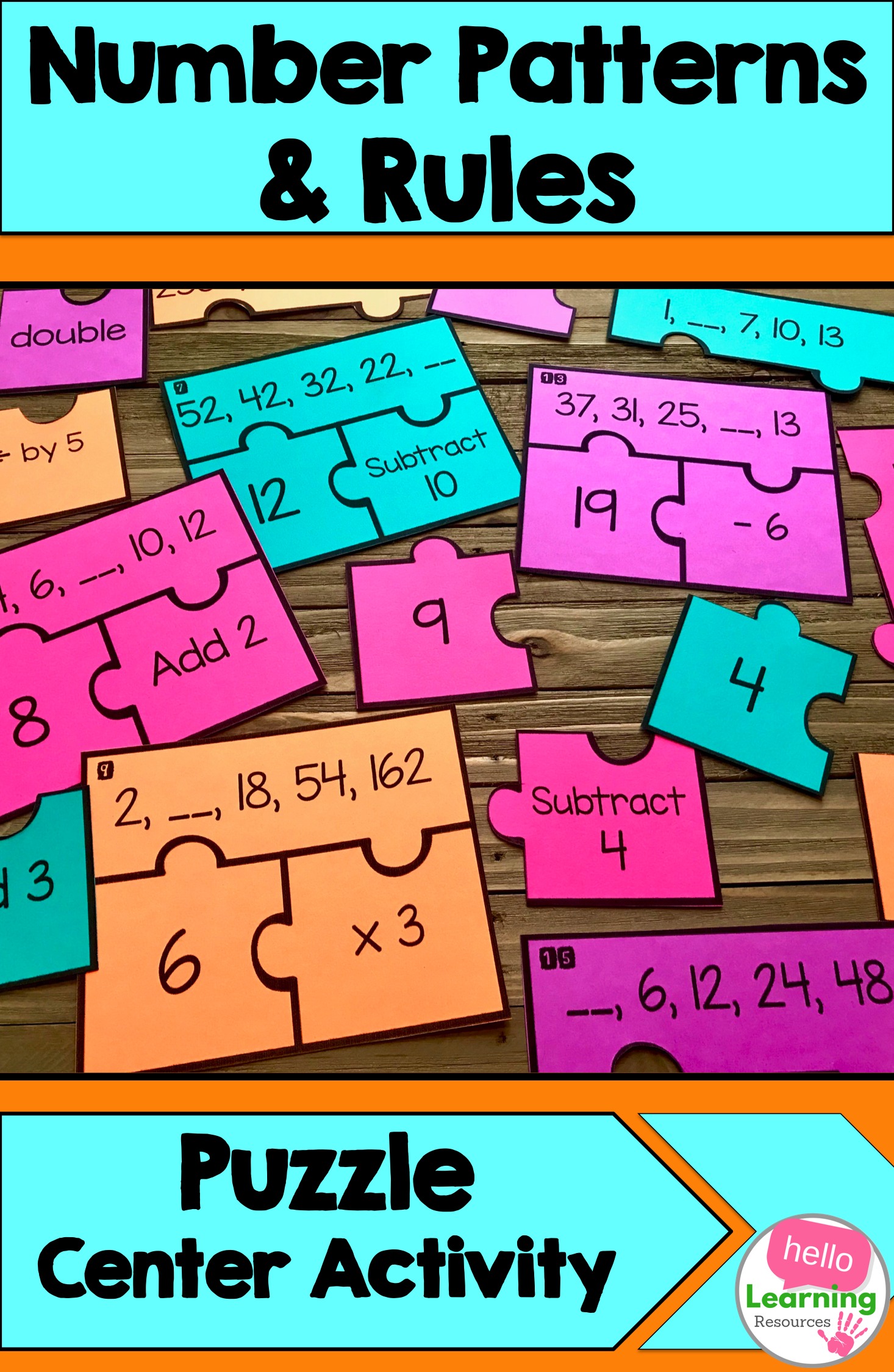 Number Patterns and Rules Puzzle   Math patterns activities [ 2249 x 1466 Pixel ]