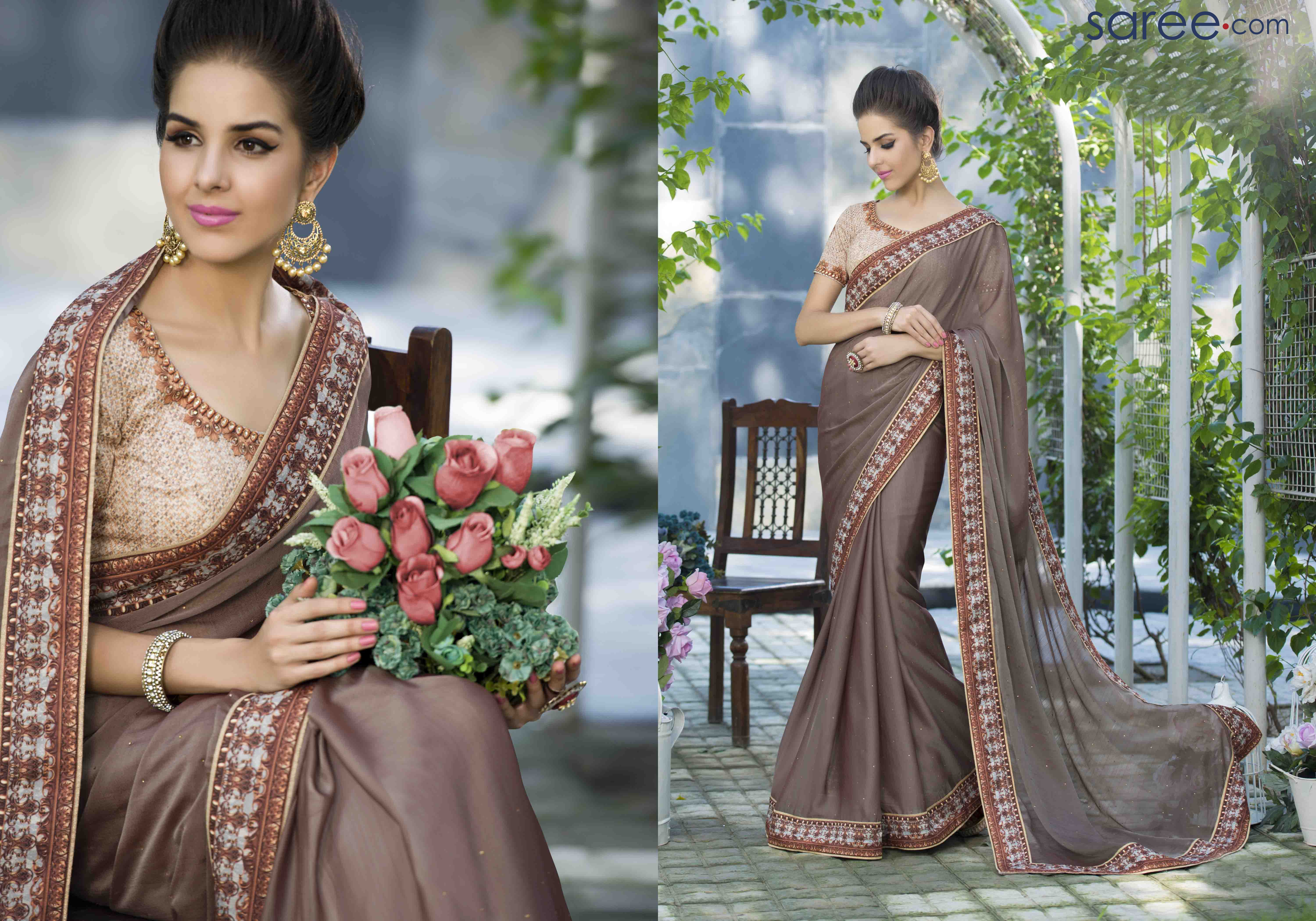 Give royal queens and princesses some serious competition, dressed in this extremely suave and elegant plain rich brown saree with a graceful, attractive border. This saree is great for first time saree wearers as well as mature women, looking to make a stylish statement.