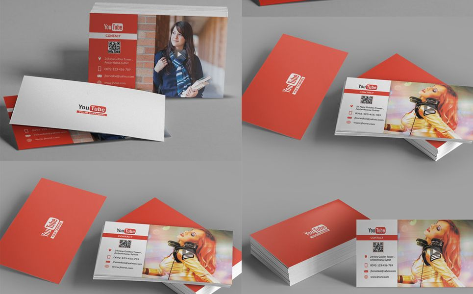 Youtube Channel Business Card Corporate Identity Template 68081 Business Cards Corporate Identity Corporate Identity Business Cards