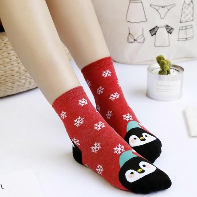 funny christmas socks for women cute animal printed casual soft cotton socks