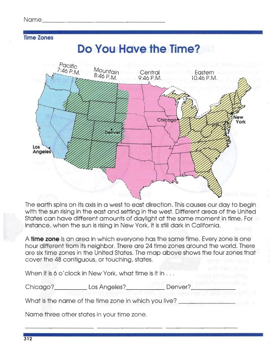Global Geography Worksheets 6 Time Zones Cografya