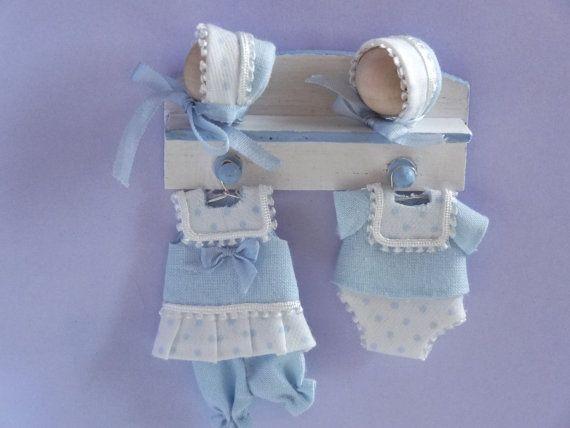 2 BLUE Lace: DOLLHOUSE Miniatures 1:12 scale Miniature Infant Clothes Hangers