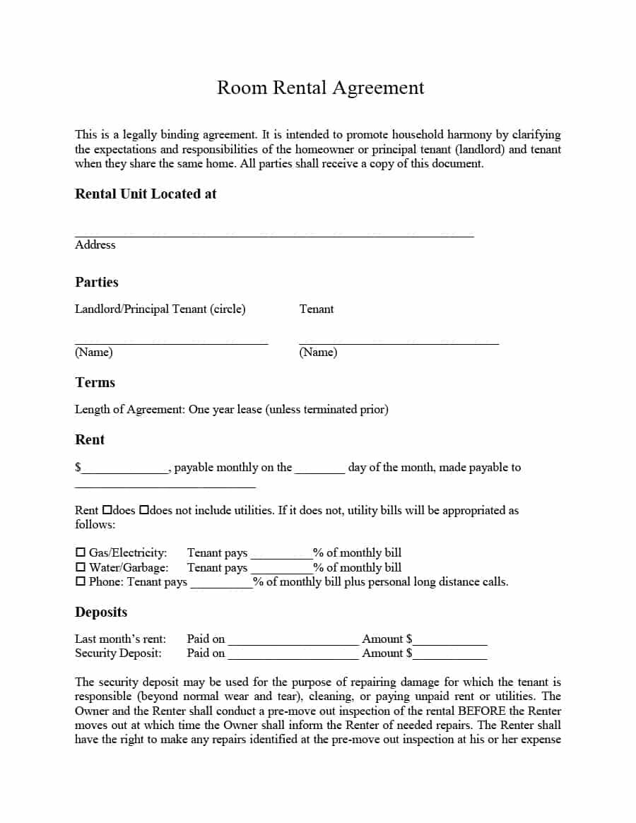39 Simple Room Rental Agreement Templates Template Archive Raghu