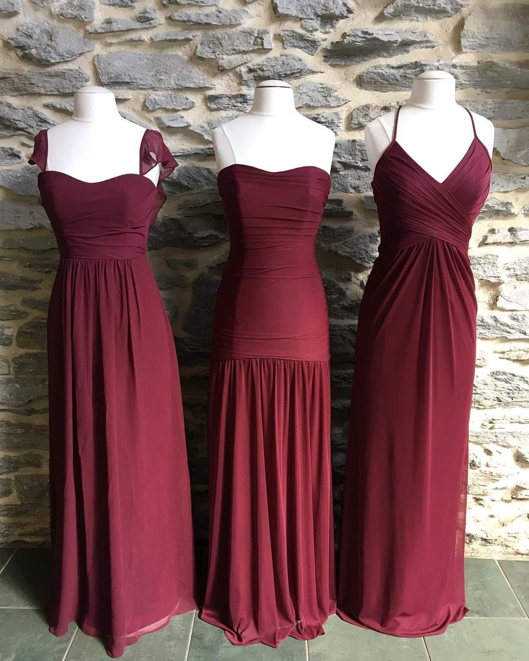 Care for some wine these long burgundy mesh and chiffon for October wedding bridesmaid dresses