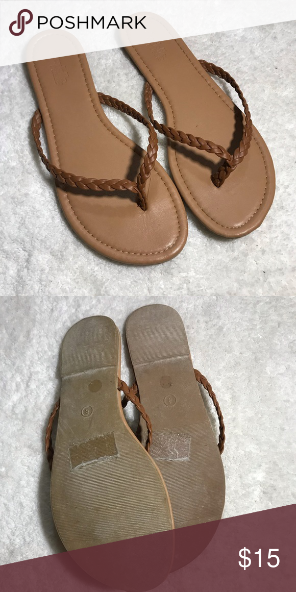 78e27ce7e7af Charlotte Russe Tan Thong Sandals Flip Flops Sz 8 Brand new flip flops from Charlotte  Russe. They have a classic braided strap style.