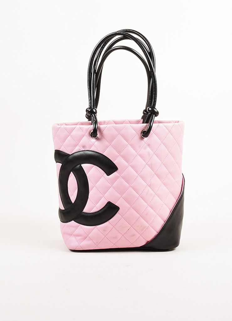 Chanel Pink And Black Quilted Leather Cc Logo Quot Ligne