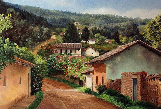 Jose Lopez Lindas Paisagens Paisagem Rural Pintura Em Telas Paisagem