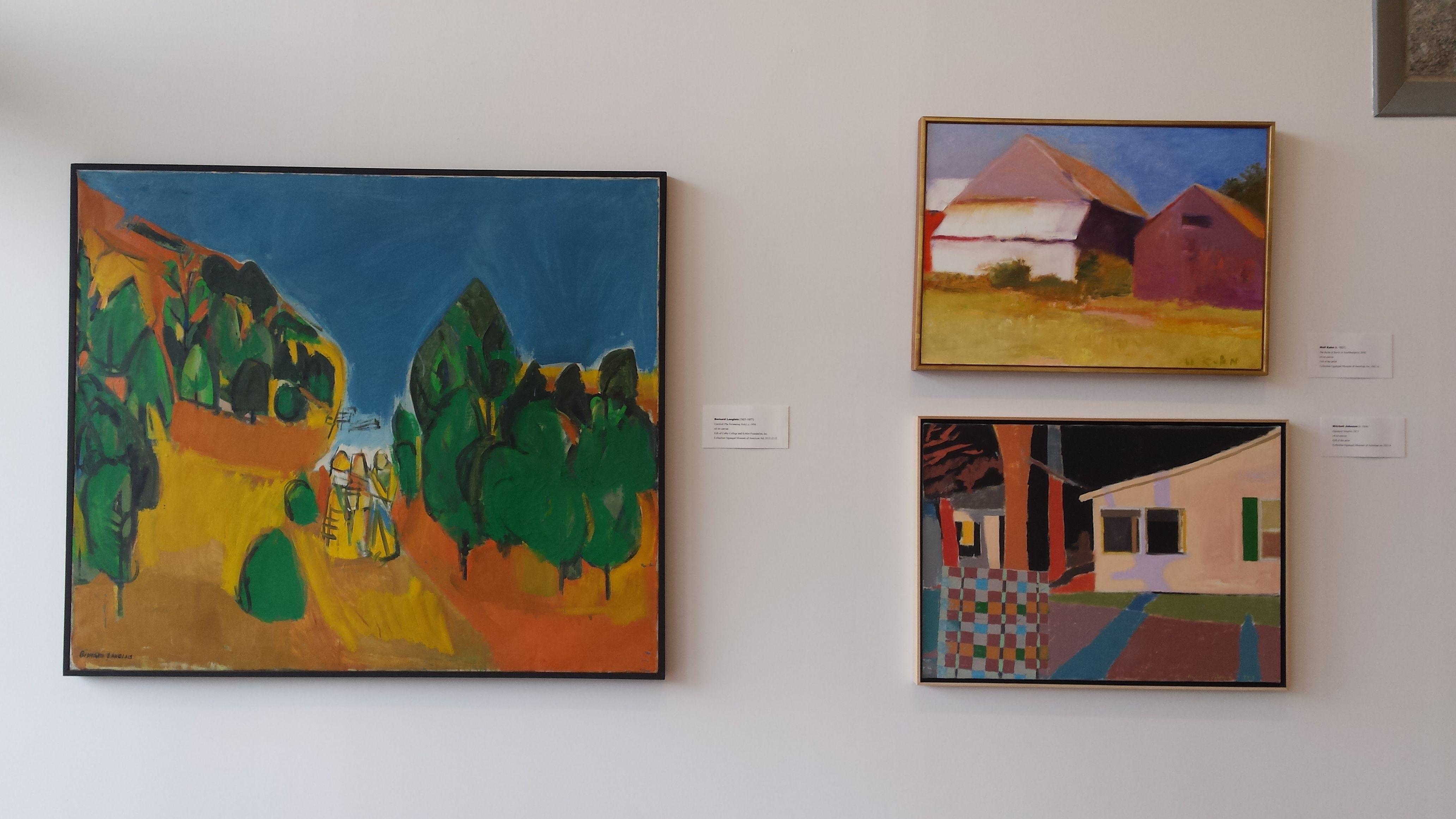 """Magnificent Landscapes"" exhibit 2015. Left Bernard Langlais ""Untitled,"" top Wolf Kahn ""The Backs of Barns in Southhampton,"" below Mitchell Johnson ""Ogunquit Stieglitz"""