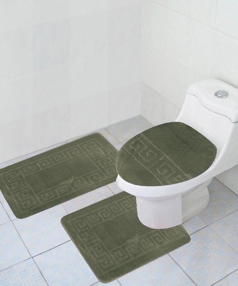 Details about 3 Piece Bathroom Set SAGA Greenish Rug Contour Mat Lid ...