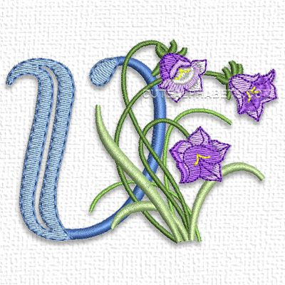 """This free embroidery design from Cute Alphabets' """"Meadowy Flower Font"""" collection is the letter V."""