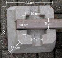 Fundamentstein mit Bemaßungen Fundamentsteine