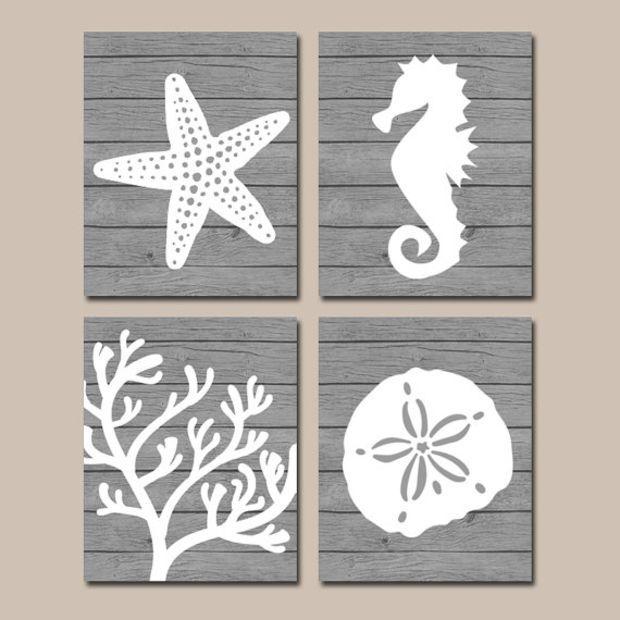 Beach Bathroom Wall Art Canvas Or Prints Nautical Coastal Bathroom Decor Aqua Starfish