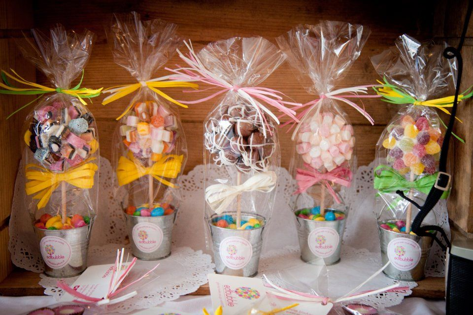Unique Mini Sweet Trees from www.edibubble-gifts.co.uk Great gifts for little bridesmaids or wedding favours with the 'wow!' factor
