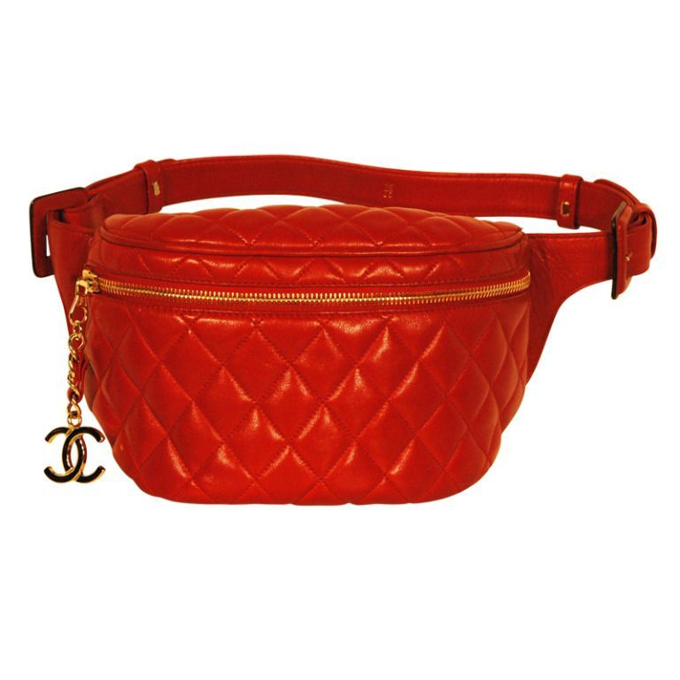 27733da15587 Vintage Chanel Red Quited Lambskin Leather Fanny Belt Pack w Gold Hardware  | From a collection
