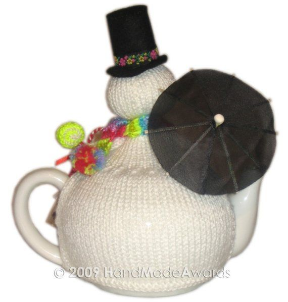 Lovely Christmas SNOWMAN with UMBRELLA Tea Cosy by HandMadeAwards, $4.50