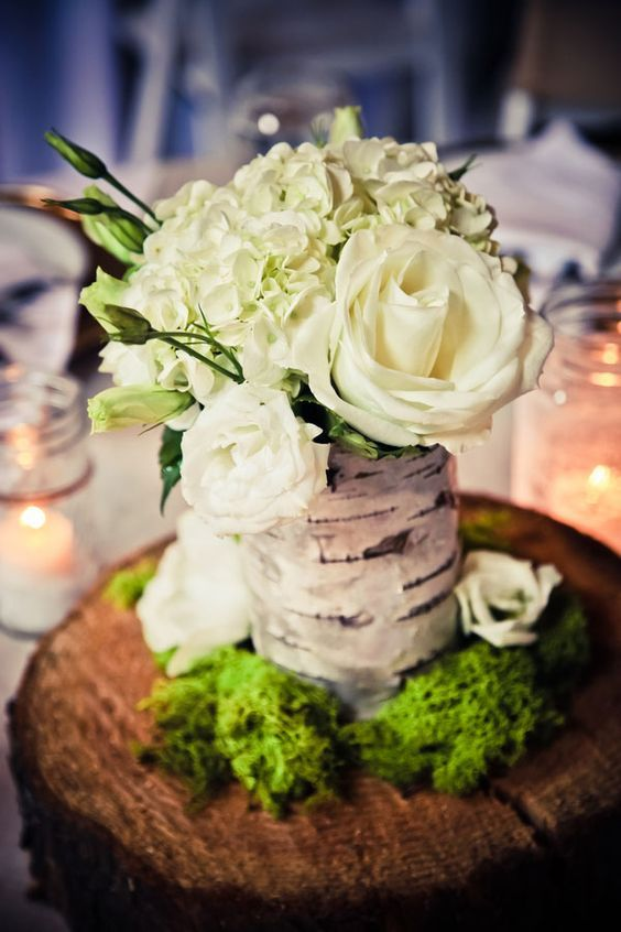 What Can The Tree Stump Be Used For The Usual Answer From You May Be Firewood Or A Seat Anything Else In Fact An Birch Vase Washington Weddings Burlap Lace