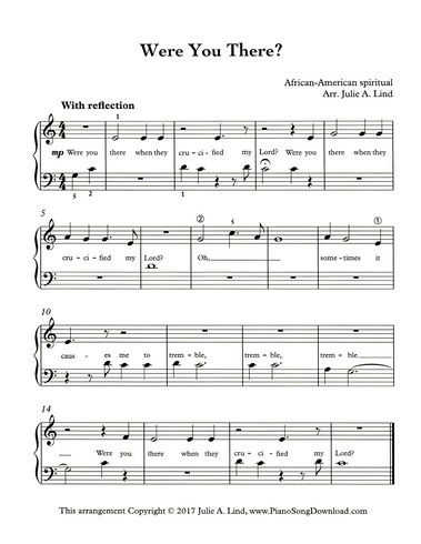 Were You There Free Easy Pdf Piano Sheet Music For Lent With