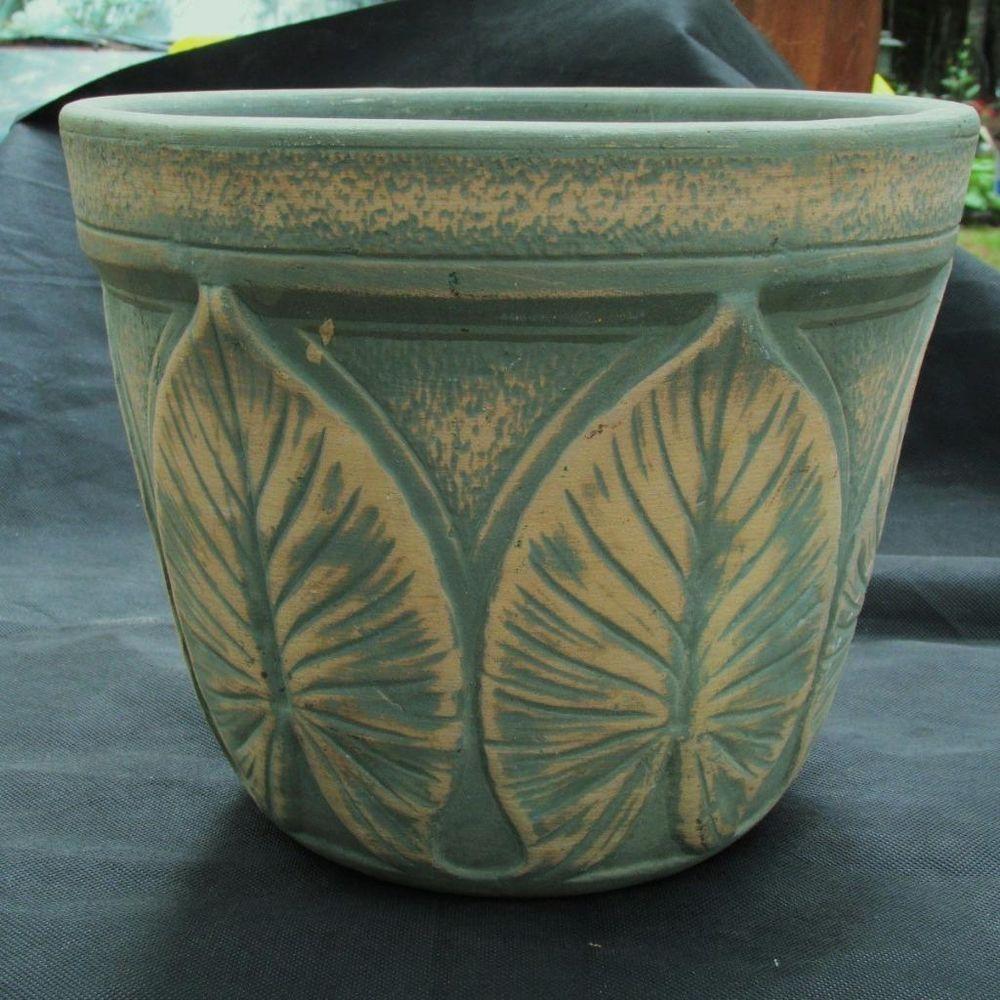 Antique Vtg Jardinere Planter Plant Pot Art Pottery Leaf Pattern Design Garden Vintage Planters Garden Basket Window Boxes