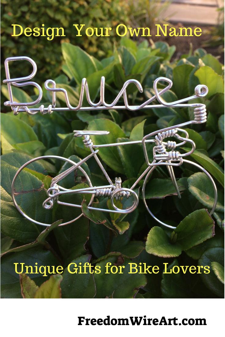 Looking for cyclists gifts? Check out this UNIQUE bicycle wire art bike decor ornament. Best personalized inspiration bicyclist biking gift for dad, mama, ...