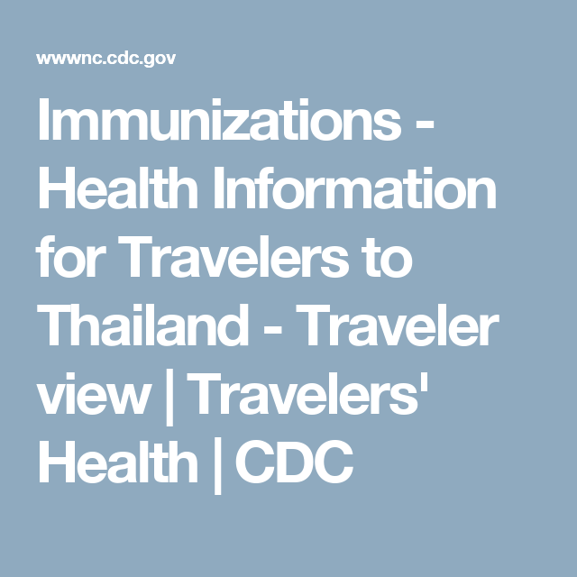 immunizations health information for travelers to