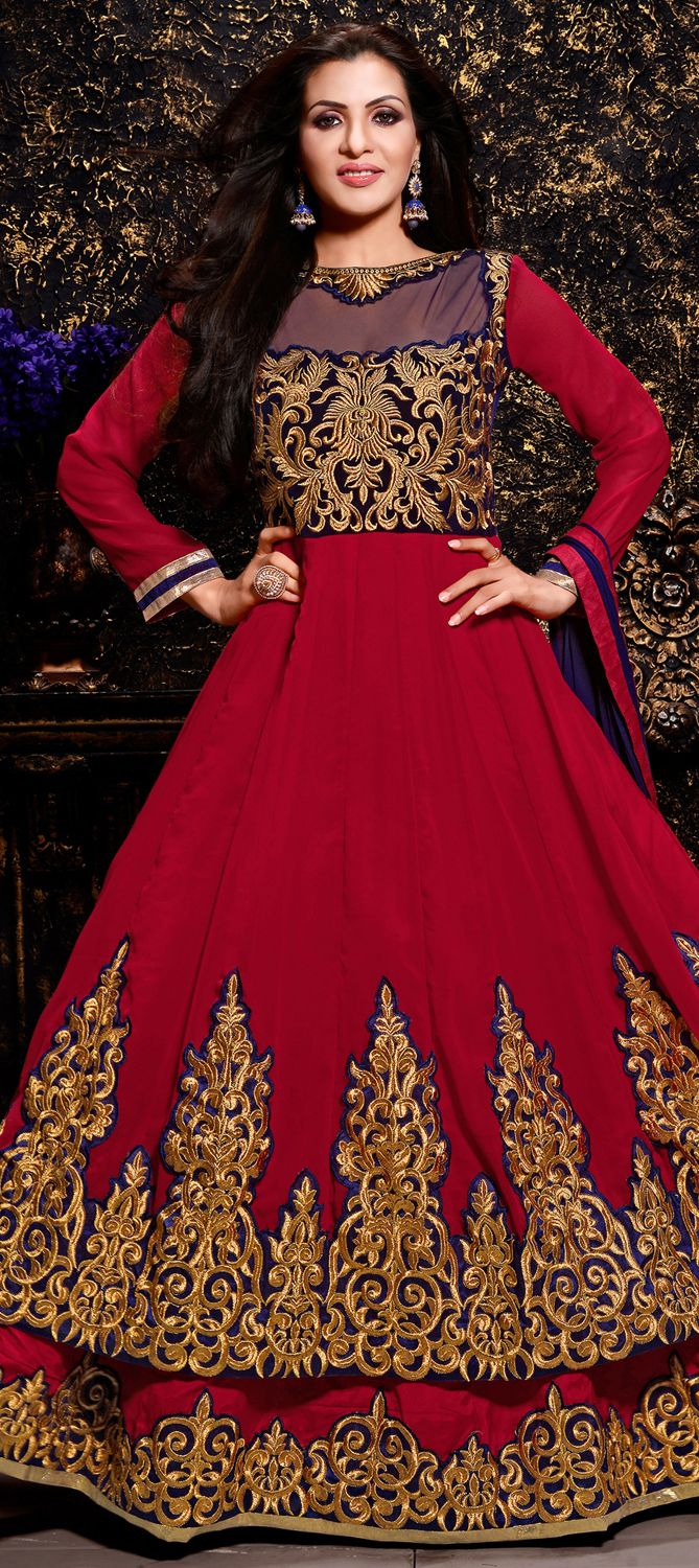 437636: Red and Maroon color family semi-stiched Anarkali Suits ...