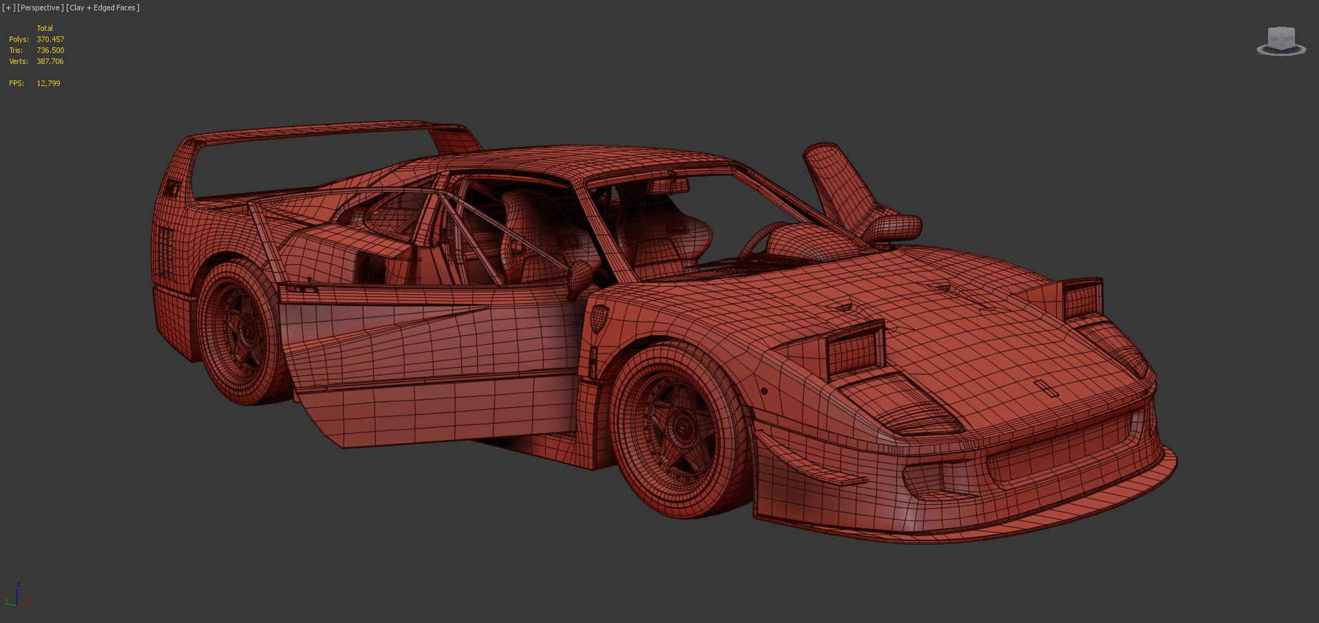 3D Model of the Ferrari F40 with Interior and High Poly