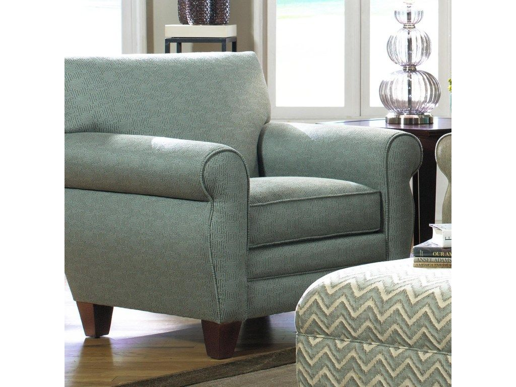 7388 transitional chair with rolled arms welt trim and