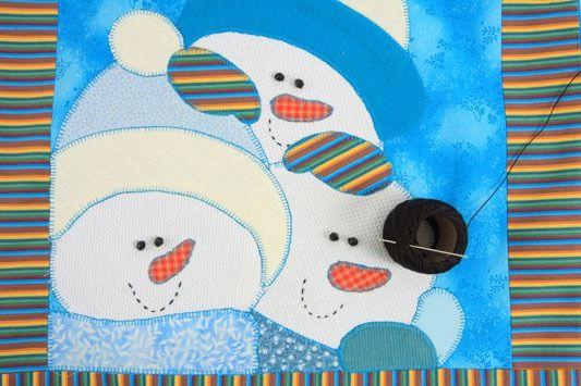 Almofada de patchwork com boneco de neve natalino! | Artesanato ...