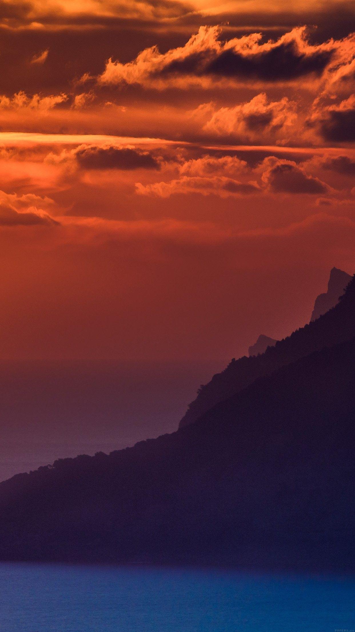 iOS 11, iPhone X, ocean, sky, sunset, orange, coast