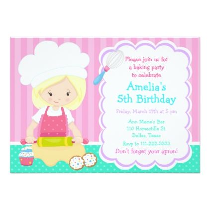 Cute blonde girl baking birthday party card birthday cards cute blonde girl baking birthday party card birthday cards invitations party diy personalize customize celebration bookmarktalkfo Image collections
