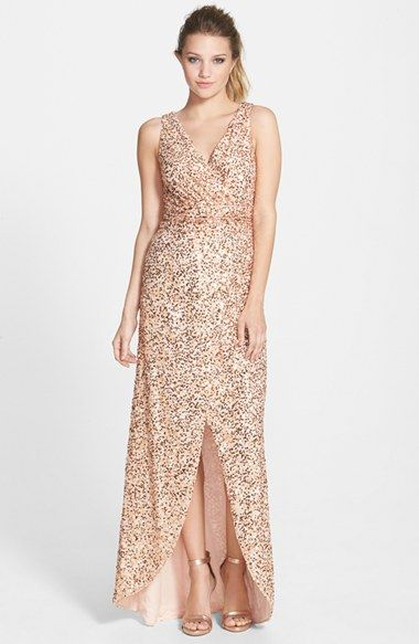 Hailey By Adrianna Papell Sequin Faux Wrap Gown Available At Nordstrom