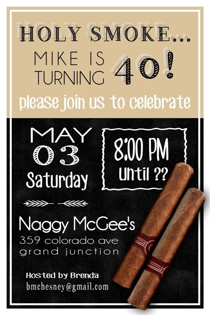 Holy Smoke! Cigar themed 40th Birthday Party - GreenishPink - fresh birthday invitation jokes