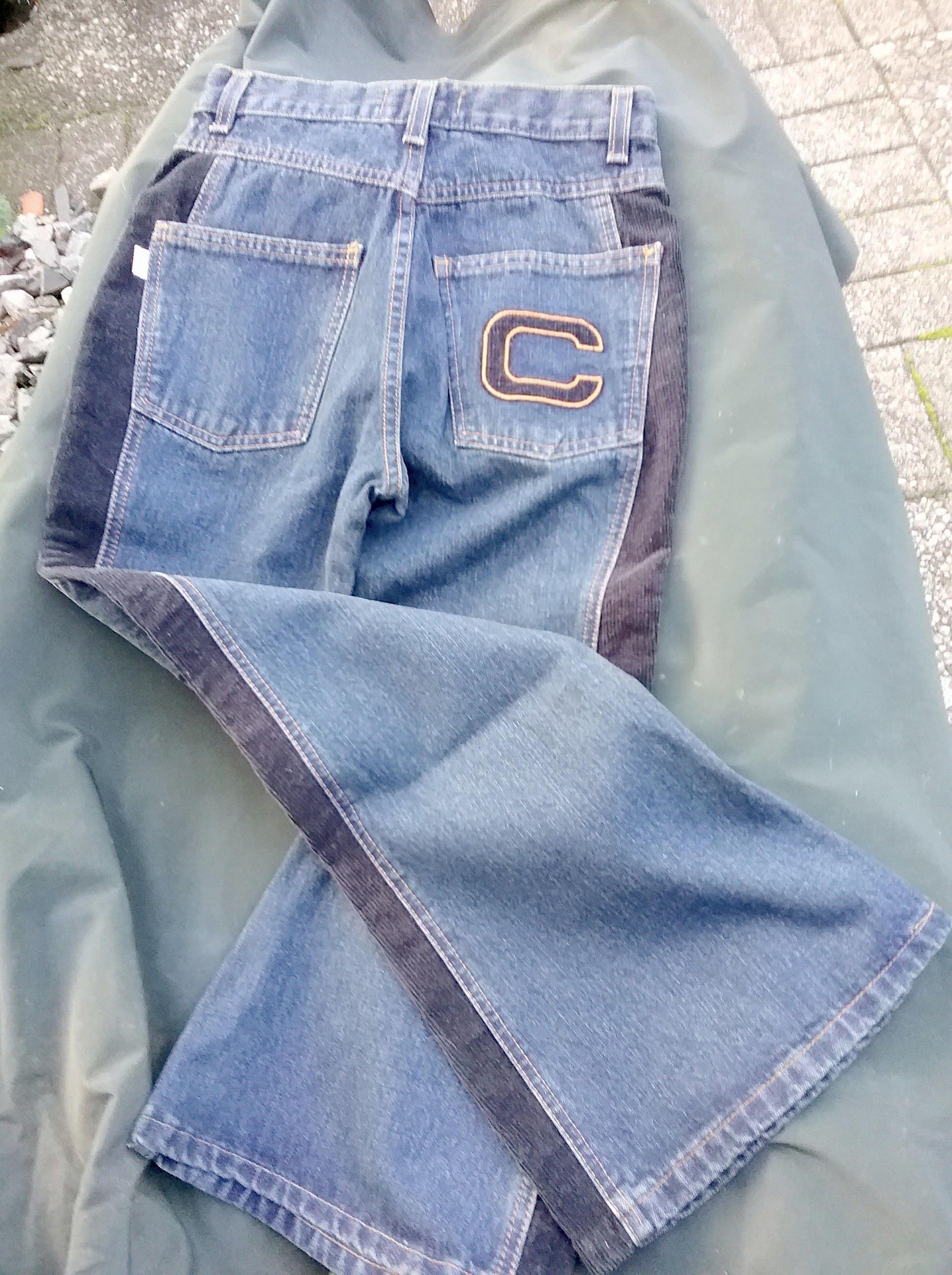 Jeans extraweit, blue denim, Hose, mehr Größen, Maßangabe